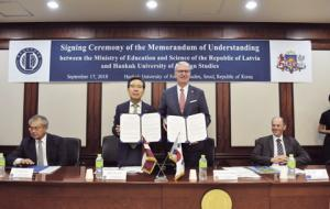Hankuk University of Foreign Studies and Latvian Ministry of Education and Science sign a MOU to promote Baltic studies in Korea